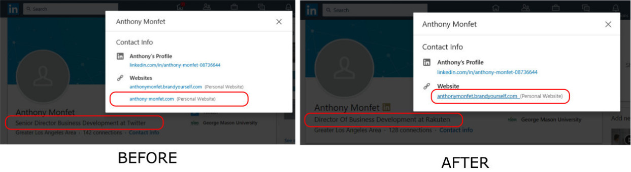 Anthony Monfet Linkedin contact info shoes differences in personal website link