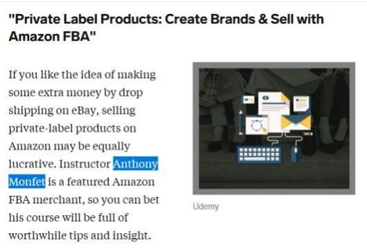 Udemy course private label products create brands and sell with amazon FBA, by anthony monfet