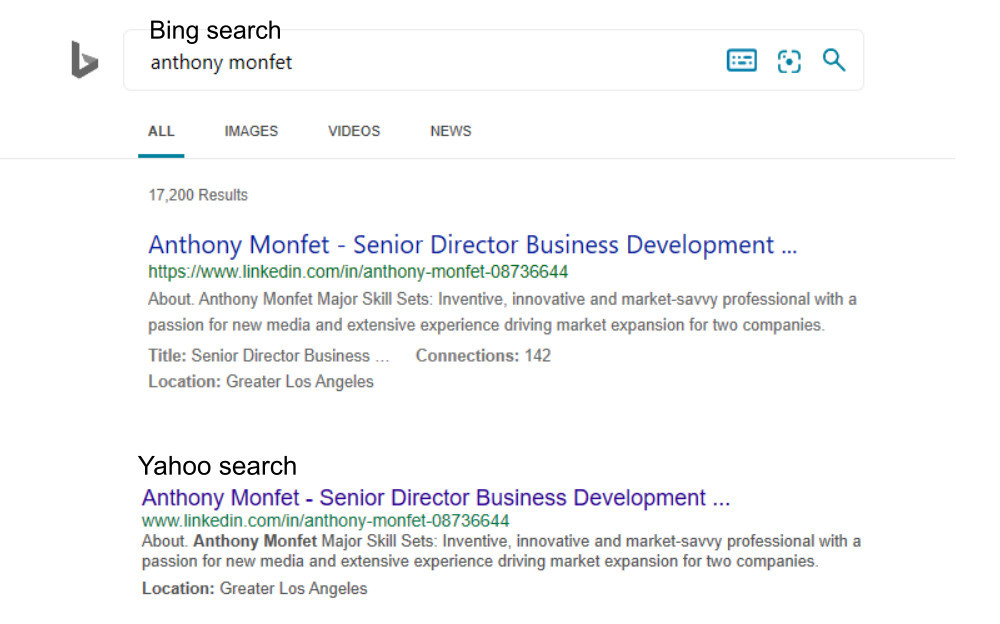 Search results on Bing an Yahoo show anthony monfet as senior director business development at Twitter