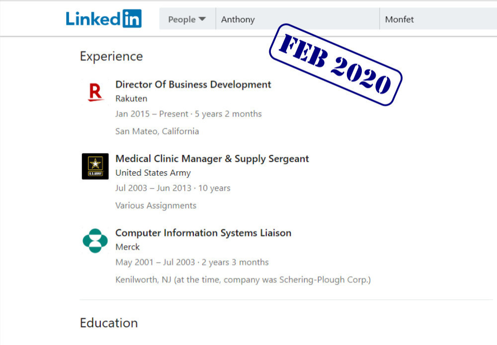 anthony monfet linkedin experience as published on february 2020