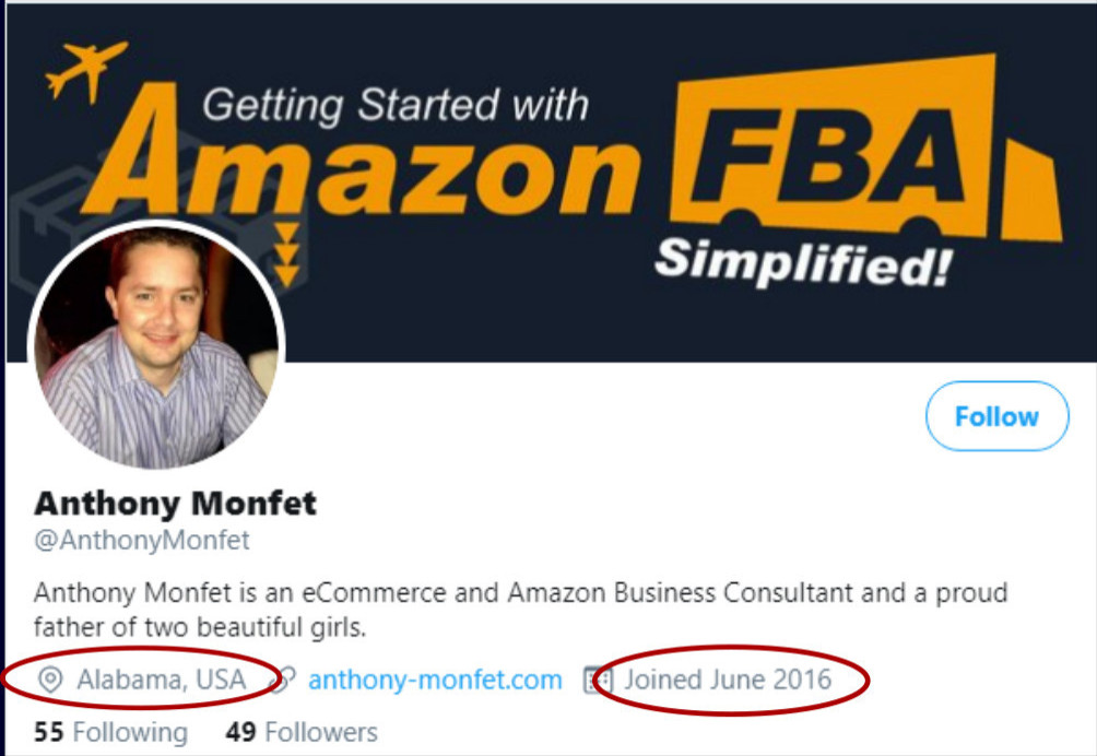Anthony Monfet business Twitter account shows location in Alabama