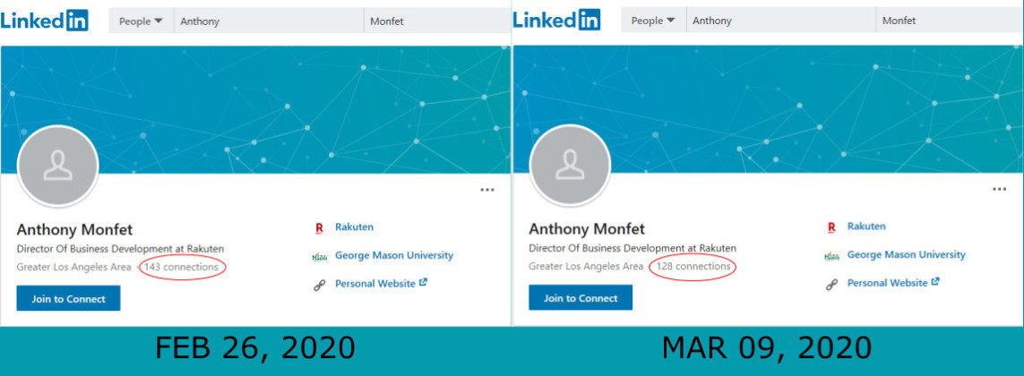 Anthony Monfet Linkedin number of connections dropped within 12 days since february 26, 2020