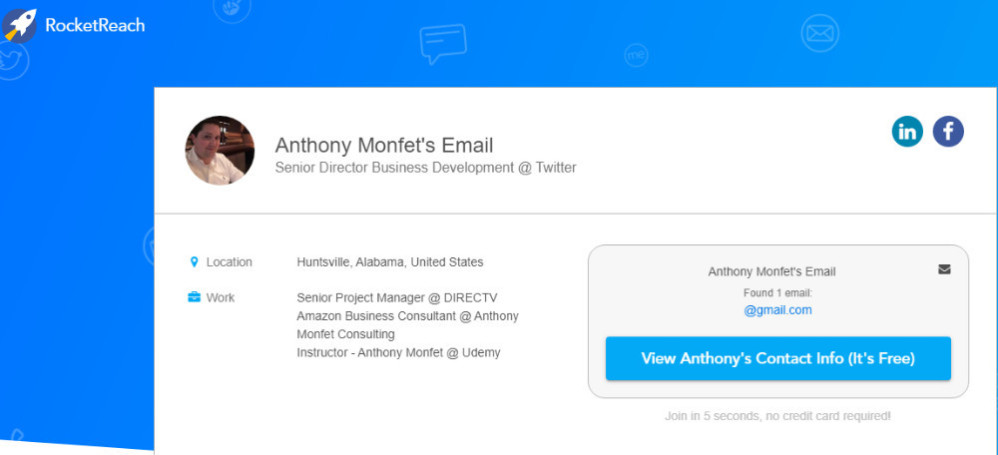 Anthony Monfet senior director business development at Twitter and location in Alabama as published on rocketreach.co