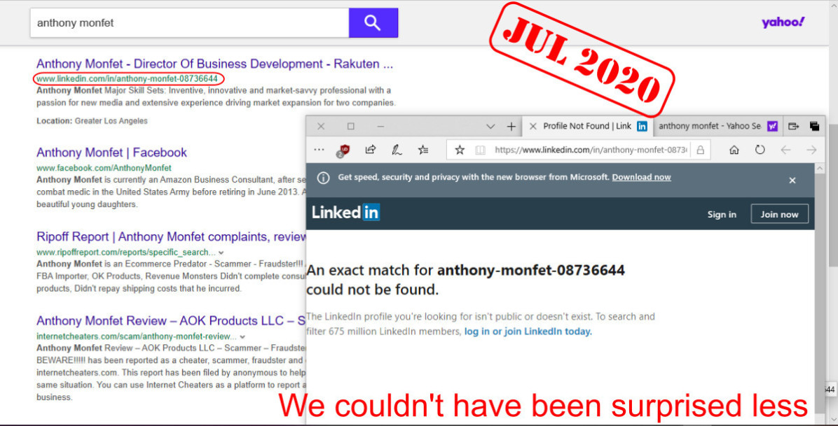 Anthony Monfet - LinkedIn profile is no longer public or does not exist